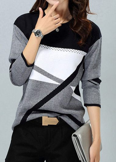 Geometric Pattern Dark Grey Round Neck Sweater