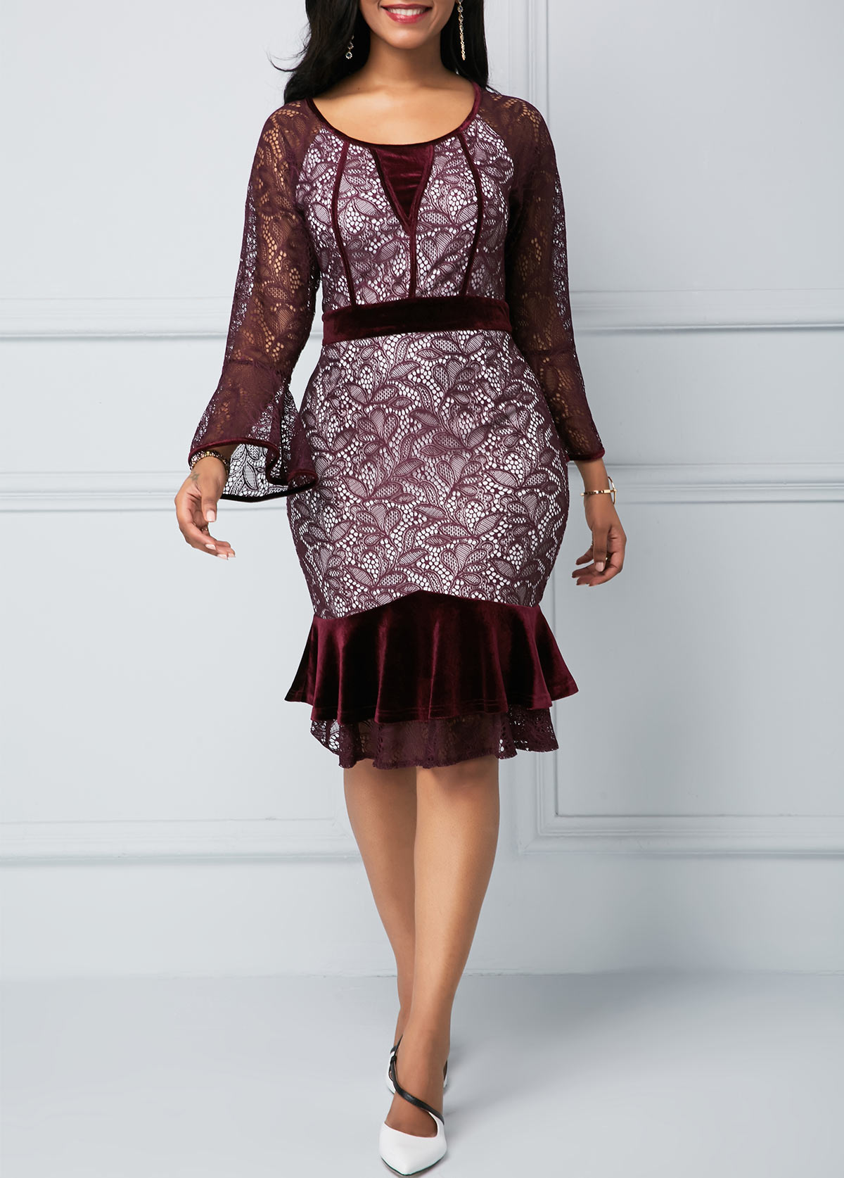 Flare Sleeve Round Neck Frill Hem Lace Dress