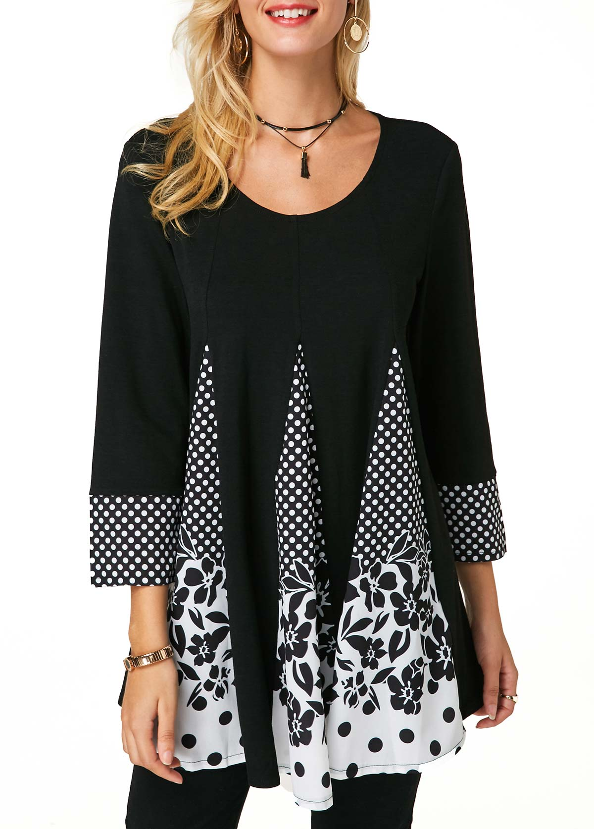 Dot and Flower Print Round Neck T Shirt