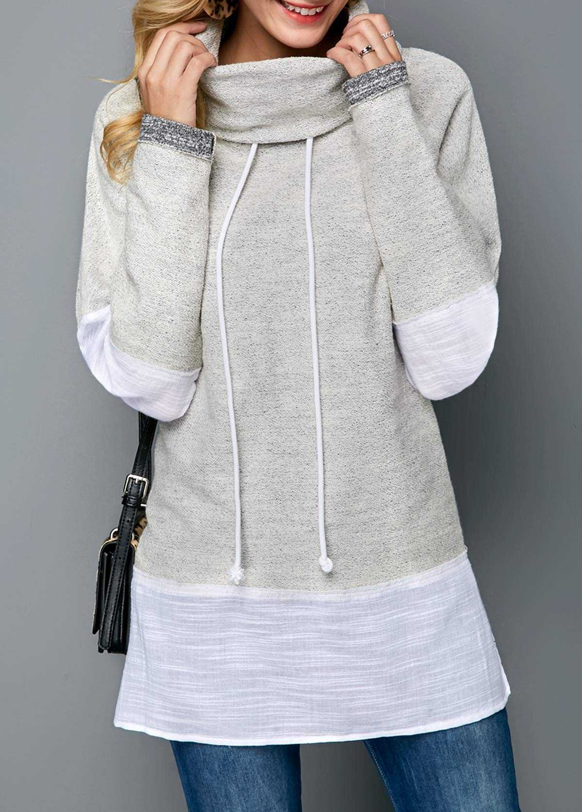Funnel Neck Light Grey Long Sleeve Sweatshirt
