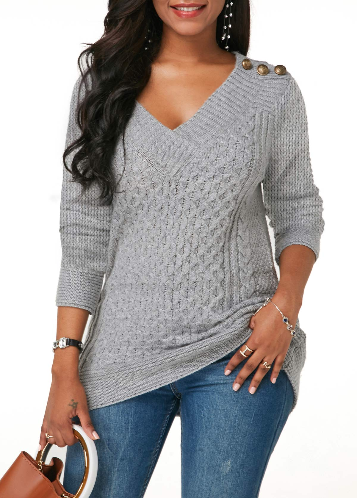 Cable Knit Grey V Neck Button Detail Sweater