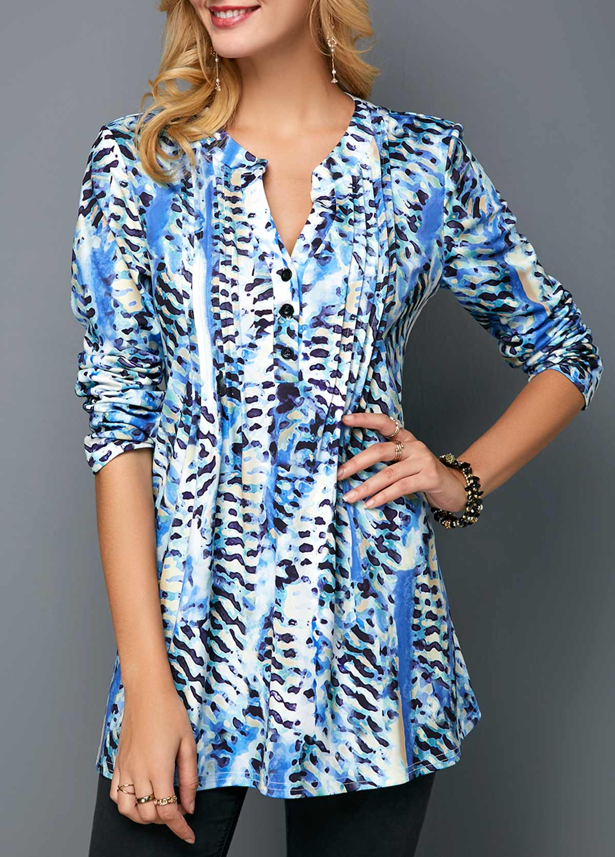Printed Split Neck Crinkle Chest Button Up Blouse