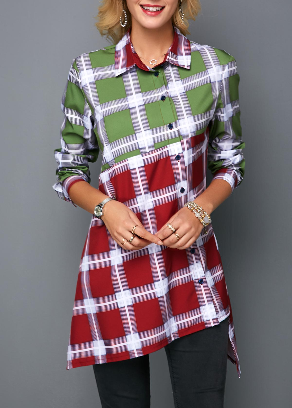 Asymmetric Hem Button Front Color Block Shirt