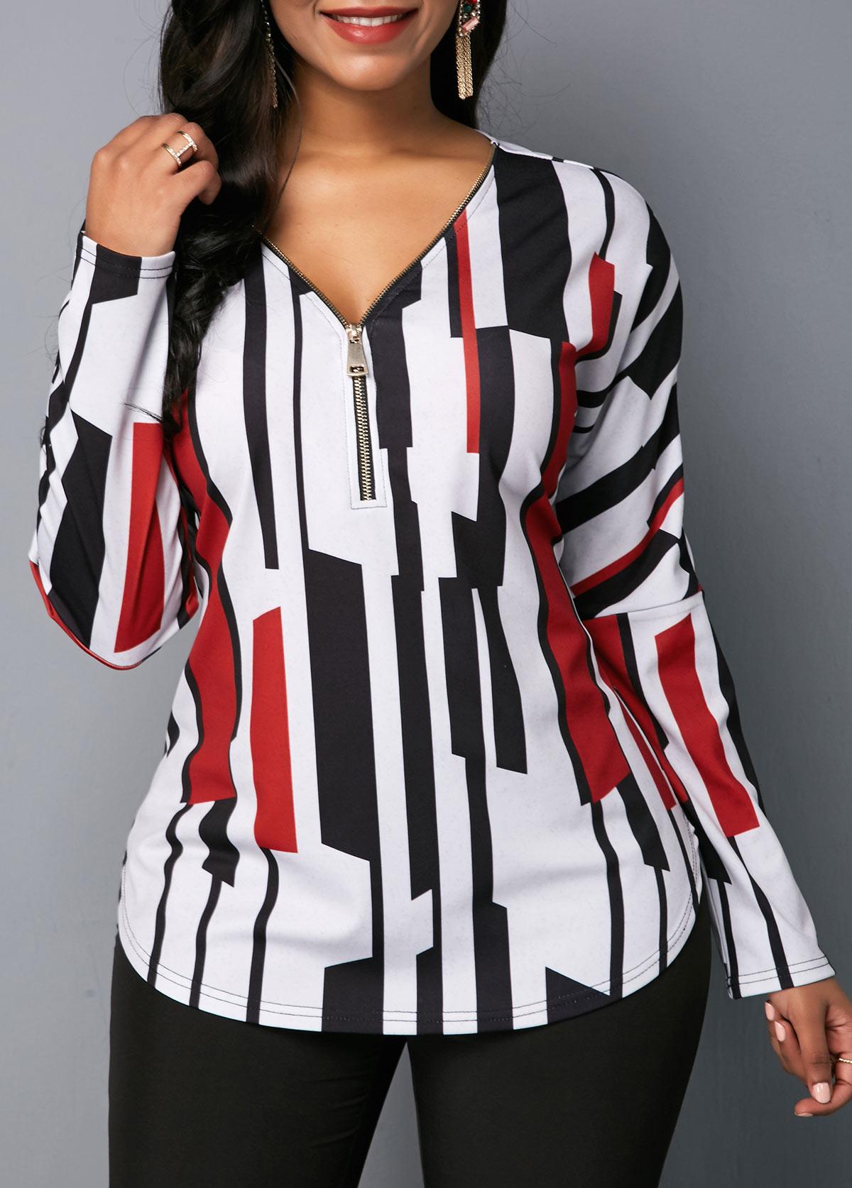Zipper Detail V Neck Long Sleeve Blouse