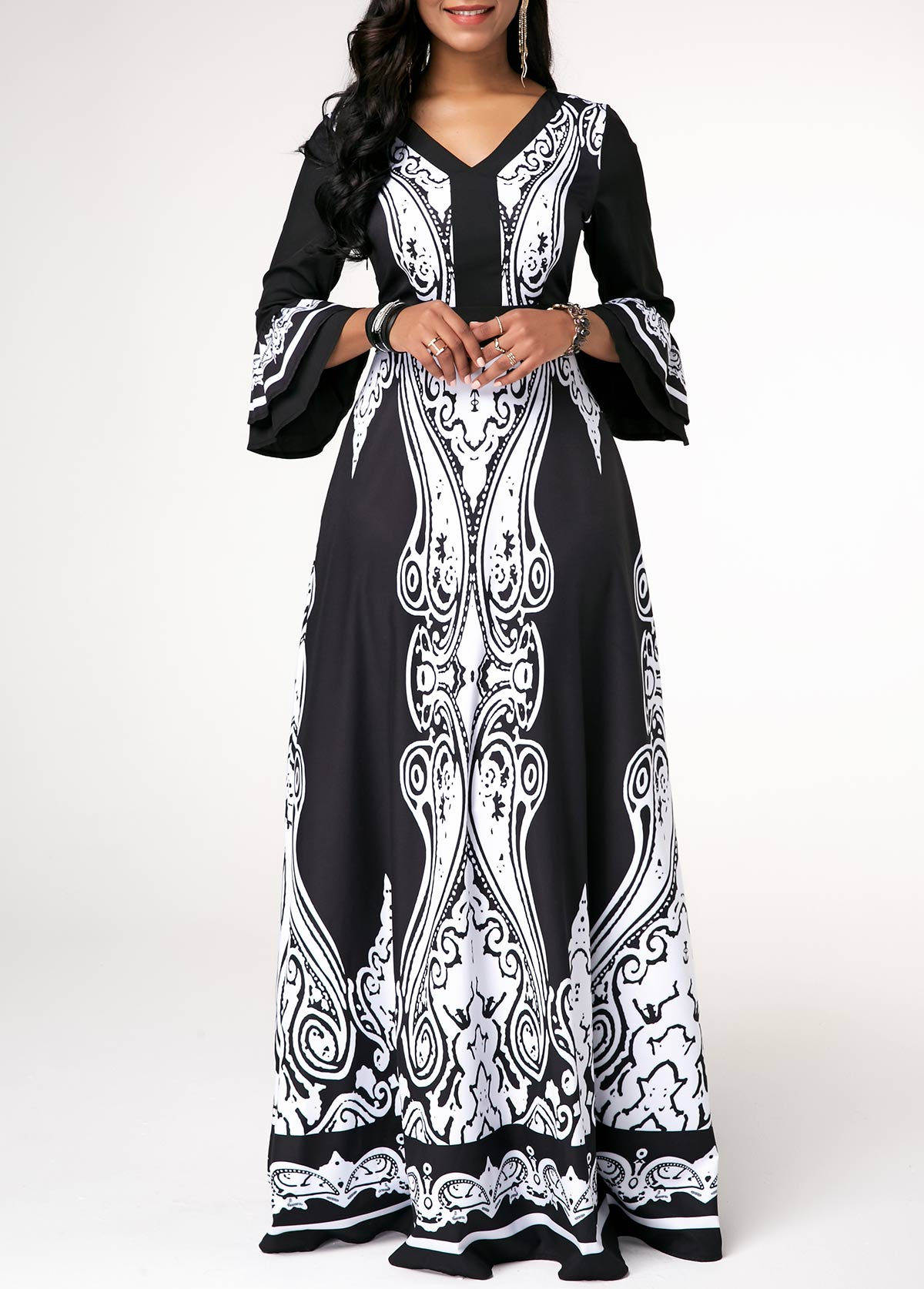 V Neck Printed Layered Bell Sleeve Maxi Dress