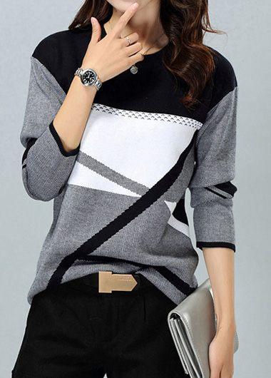 Geometric Pattern Dark Grey Round Neck Sweater