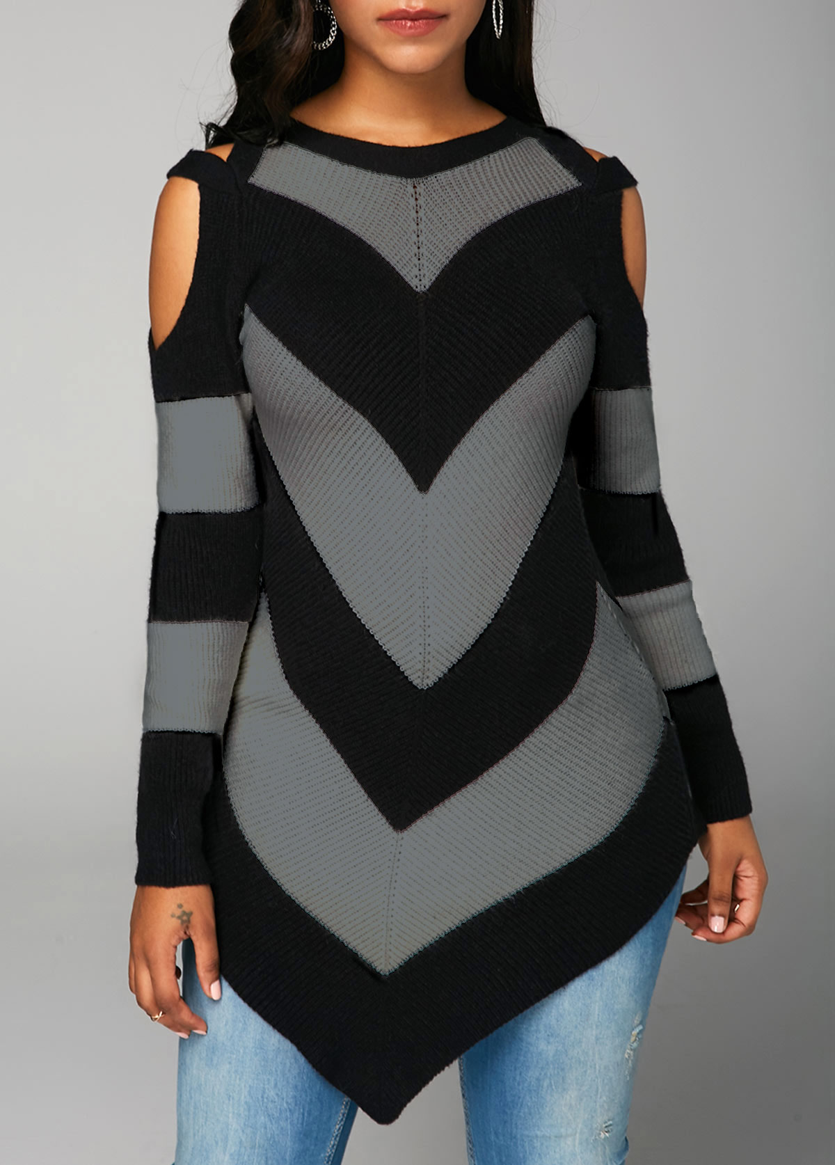 Long Sleeve Cold Shoulder Black Sweater