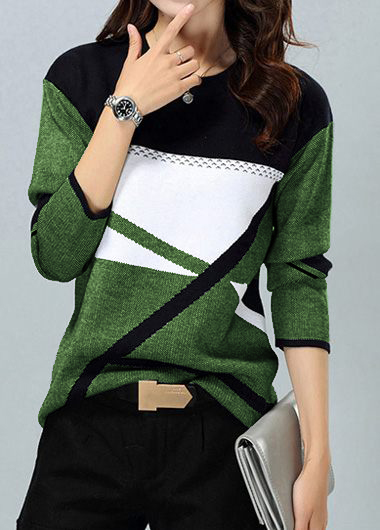 Long Sleeve Round Neck Green Sweater