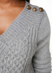 wholesale Cable Knit Grey V Neck Button Detail Sweater