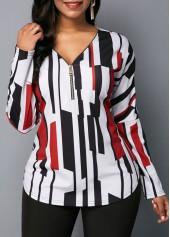 wholesale Zipper Detail V Neck Long Sleeve Blouse