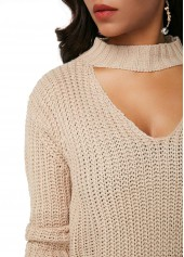 wholesale Long Sleeve Choker Neck Distressed Sweater