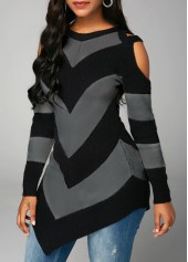 wholesale Long Sleeve Cold Shoulder Black Sweater