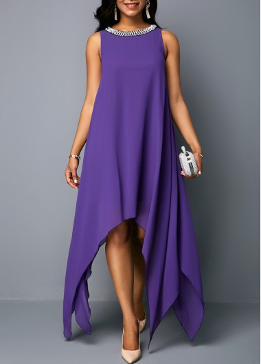Asymmetric Hem Embellished Neck Sleeveless Dress