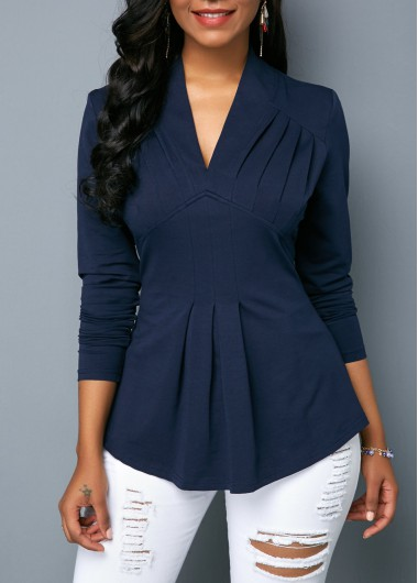 Long Sleeve V Neck Navy Blouse