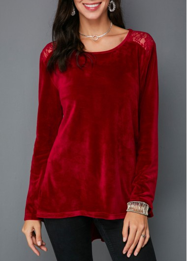 Rosewe Women Blouse Burgundy Velvet Christmas Long Sleeve Tunic - L