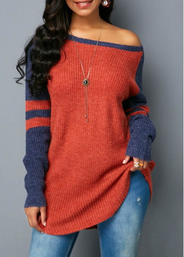 Long Sleeve Striped Scoop Neck Sweater