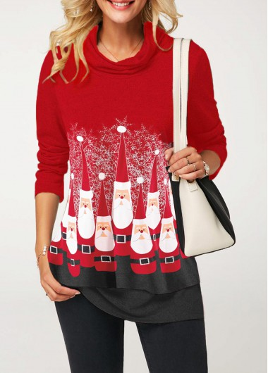Long Sleeve Santa Claus Print Red  T Shirt