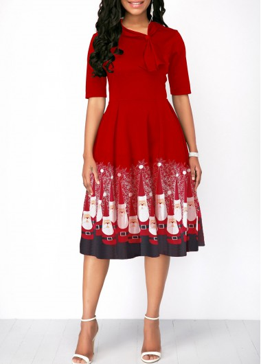 Half Sleeve Red Christmas Santa Print Dress