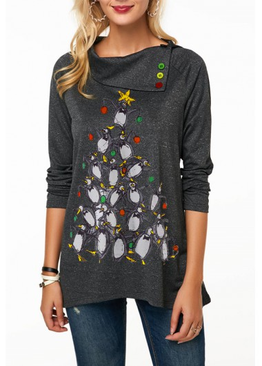 Penguin Print Long Sleeve Button Embellished Christmas T Shirt
