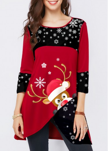 Elk Print Asymmetric Hem Wine Red Christmas T Shirt