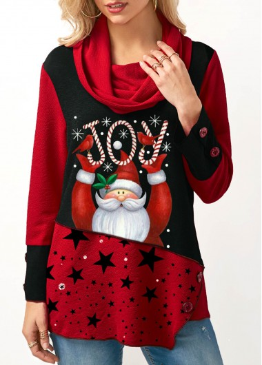 Cowl Neck Santa Claus Print Red Sweatshirt