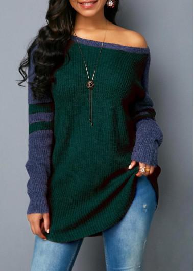 Dark Green Curved Hem Varsity Stripe Sweater