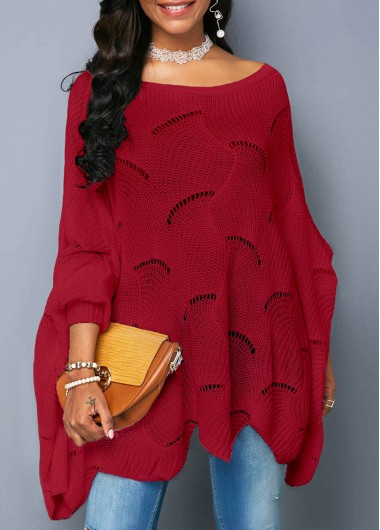 Asymmetric Hem Wine Red Open Knit Sweater