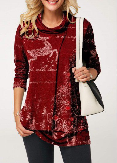 Christmas Elk Print Cowl Neck Wine Red T Shirt