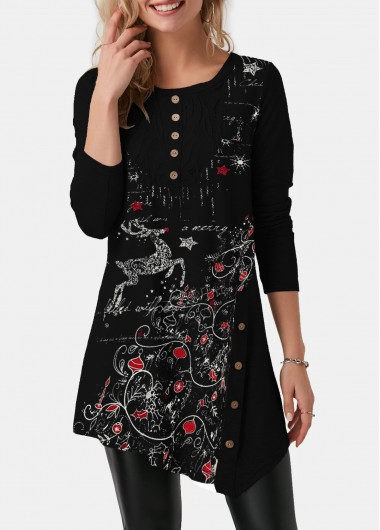 Asymmetric Hem Christmas Print Button Detail T Shirt