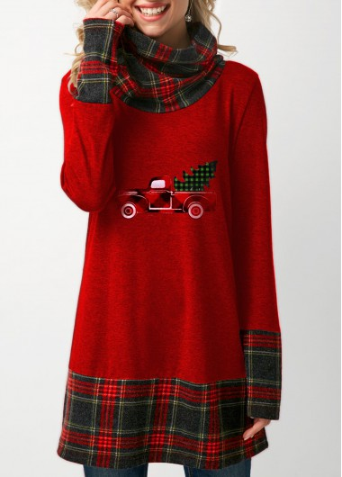 Plaid Print Cowl Neck Christmas T Shirt