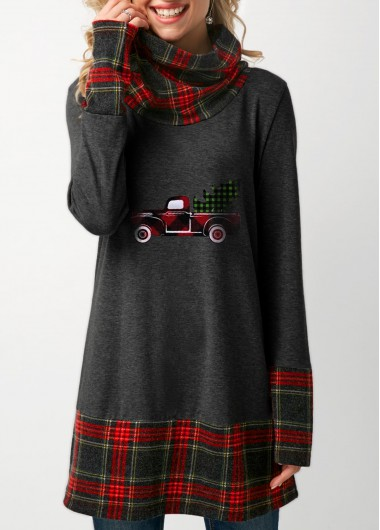 Plaid Print Long Sleeve Dark Grey Christmas T Shirt