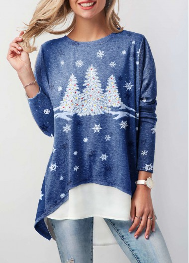Long Sleeve Christmas Tree Print T Shirt
