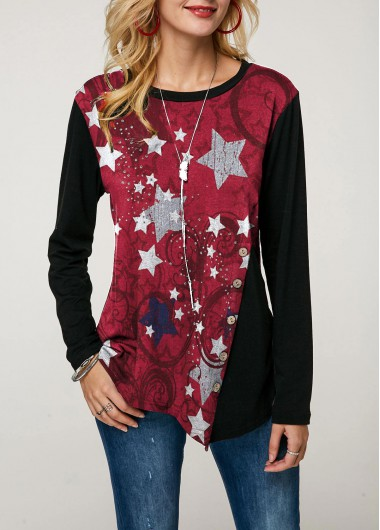 Asymmetric Hem Long Sleeve Star Print T Shirt