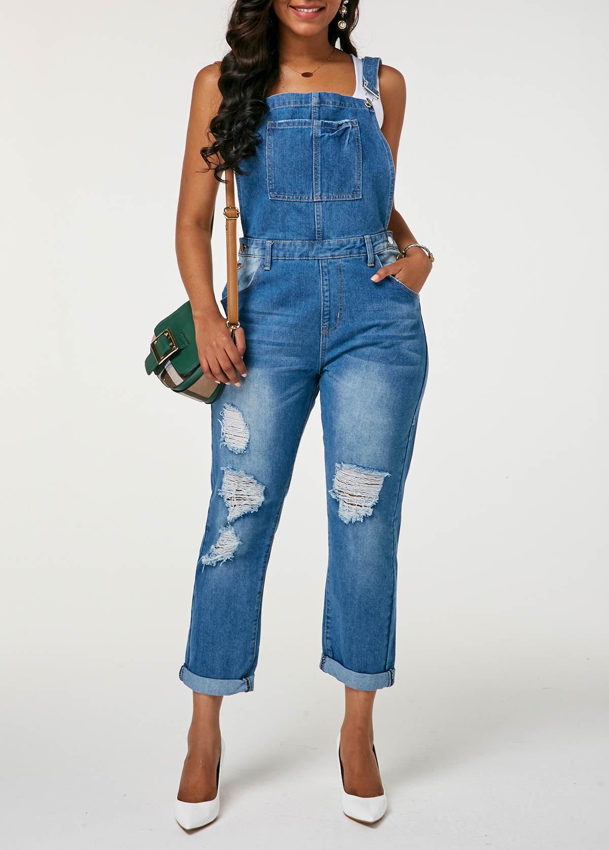 Shredded Pocket Detail Roll Hem Overalls