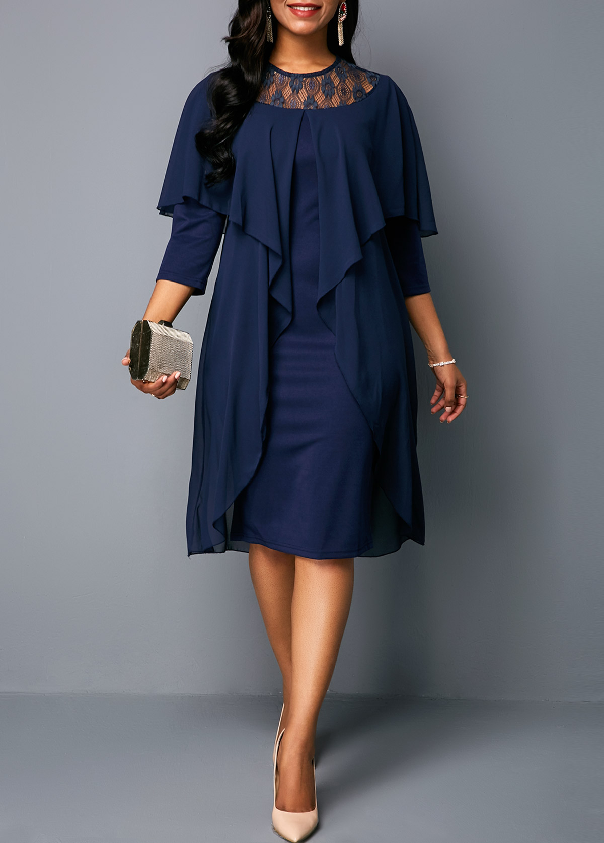 58c7b5accb2 Three Quarter Sleeve Round Neck Chiffon Dress