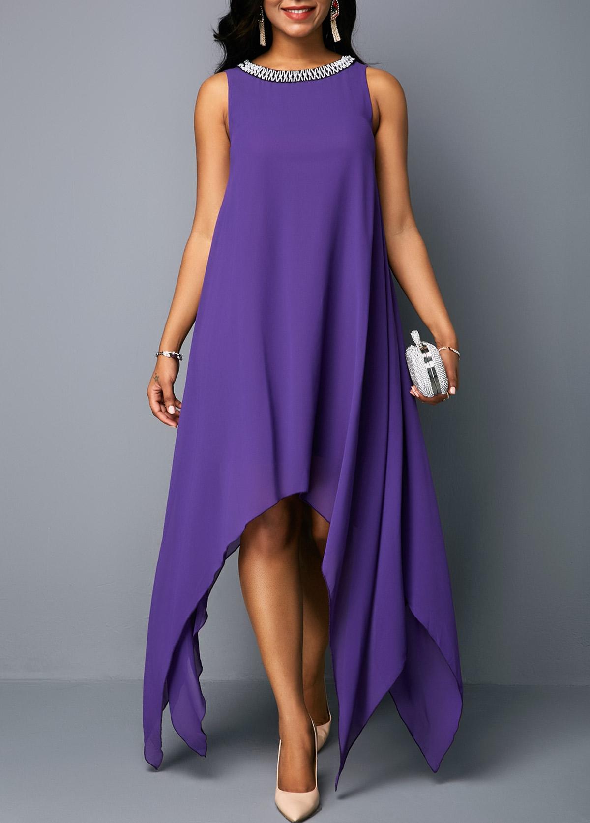 Asymmetric Hem Embellished Neck Sleeveless Tunic Dress