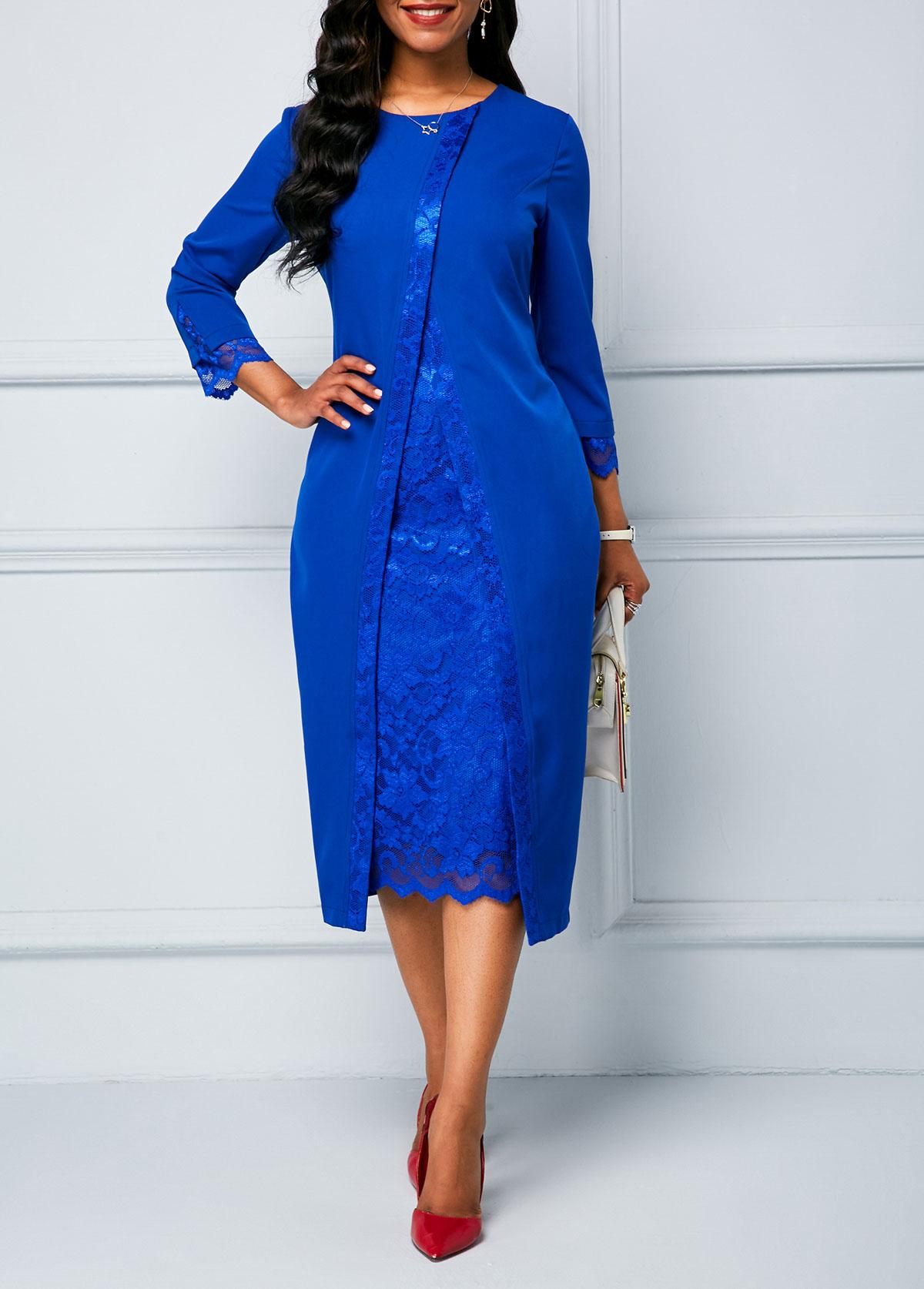 Lace Panel Long Sleeve Royal Blue Sheath Dress