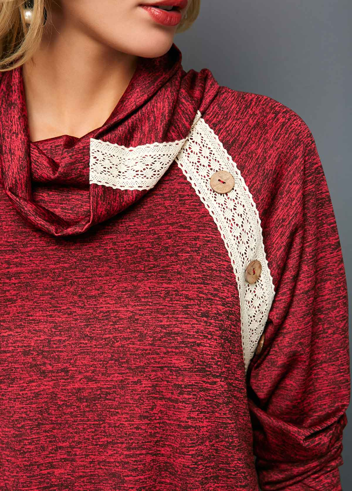 Button Detail Wine Red Cowl Neck Tunic T Shirt
