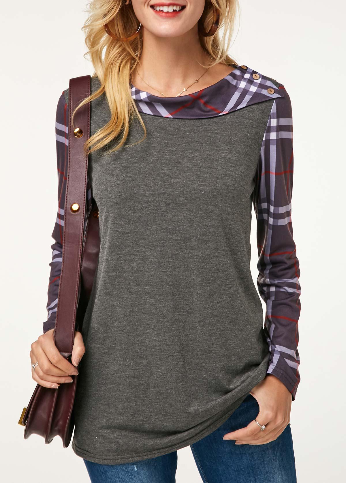 Button Detail Long Sleeve Plaid Print Grey Sweatshirt