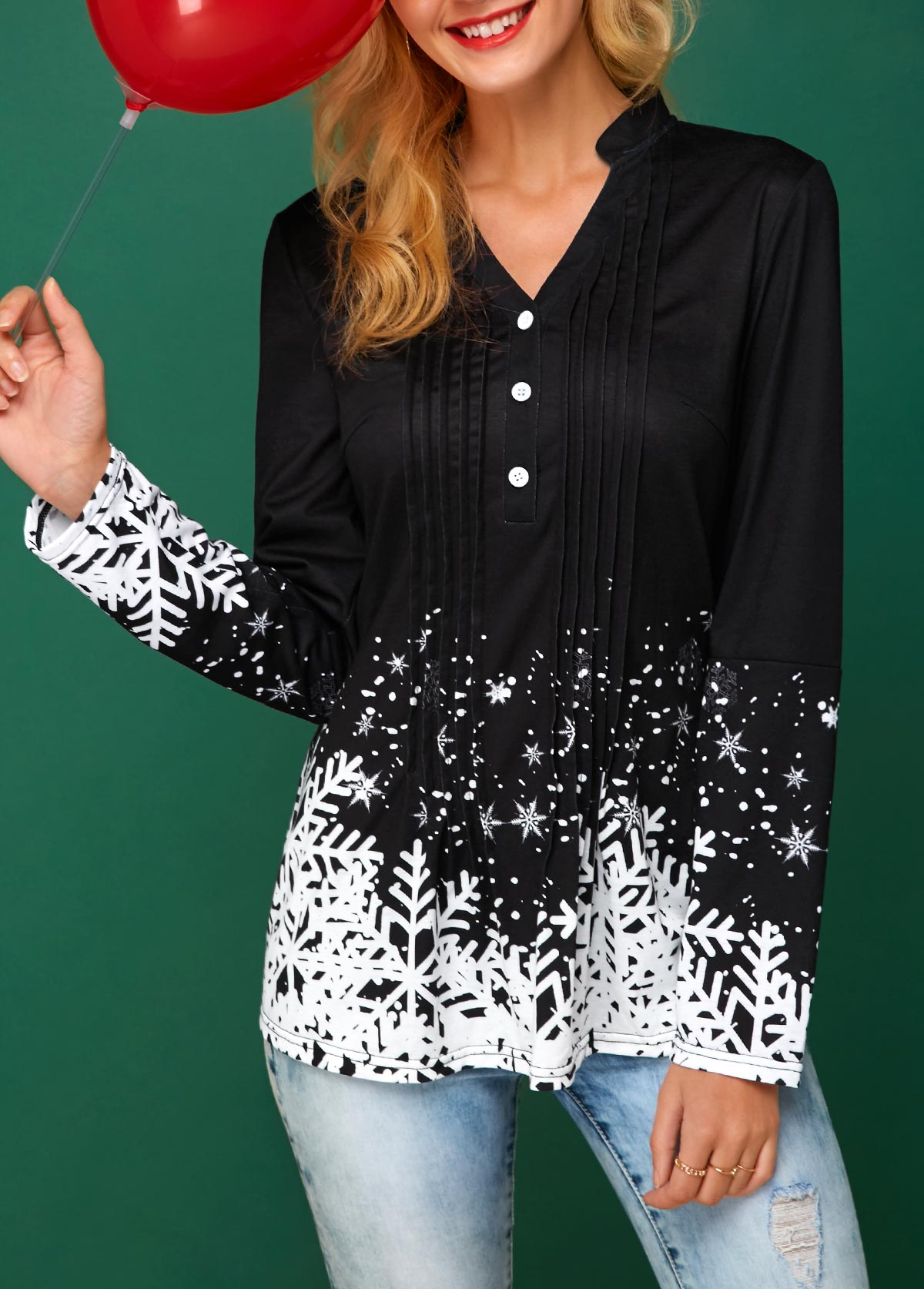 Snowflake Print Split Neck Black Christmas Blouse