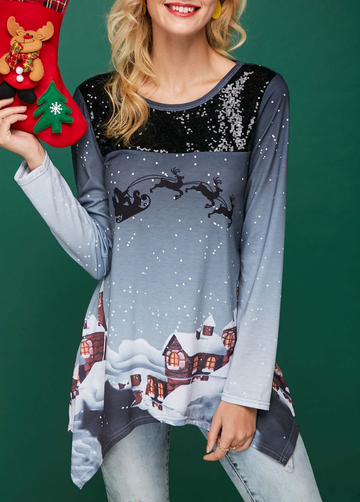 Christmas Print Sequin Embellished Asymmetric Hem T Shirt