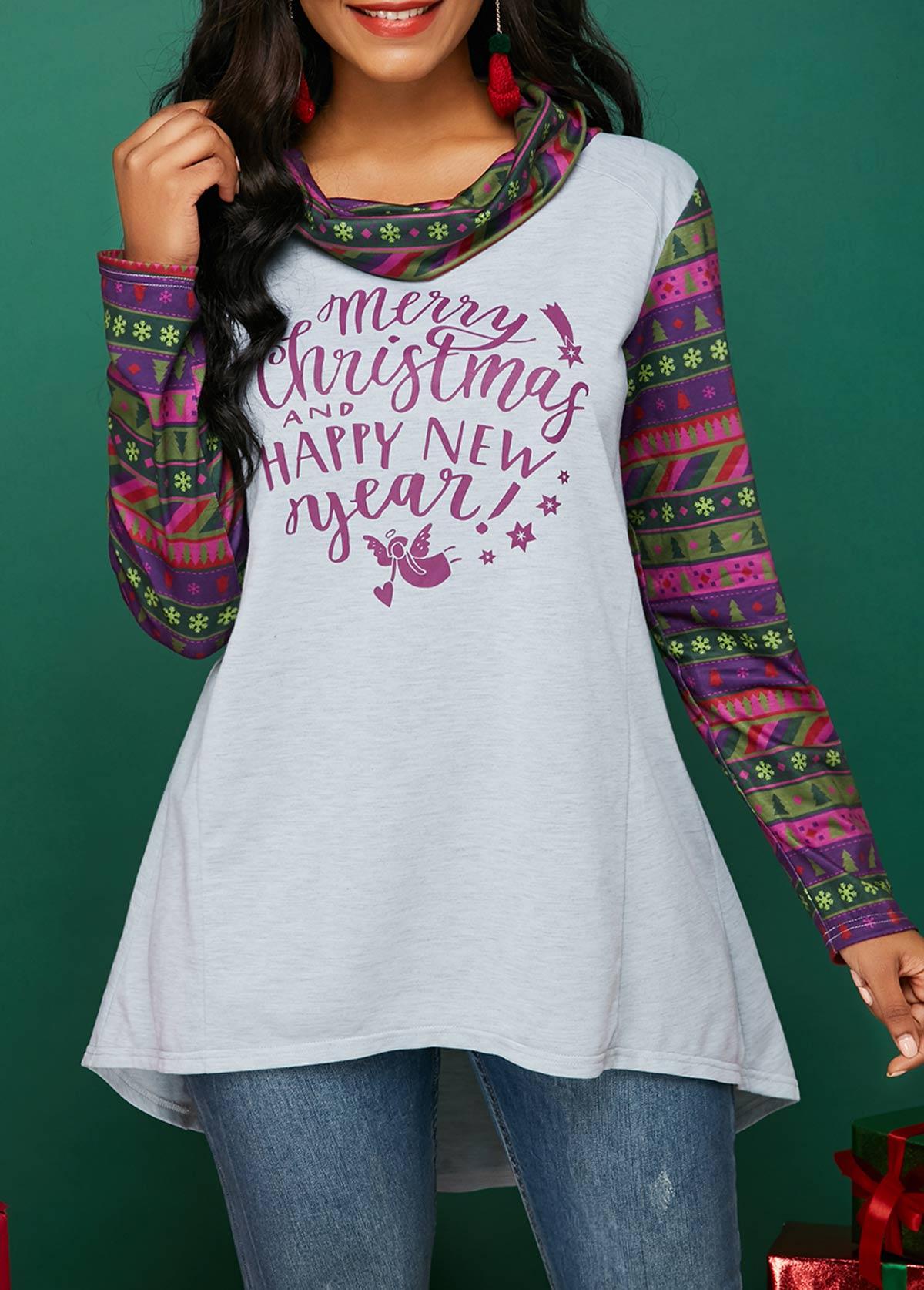 Cowl Neck Dip Hem Tunic T Shirt