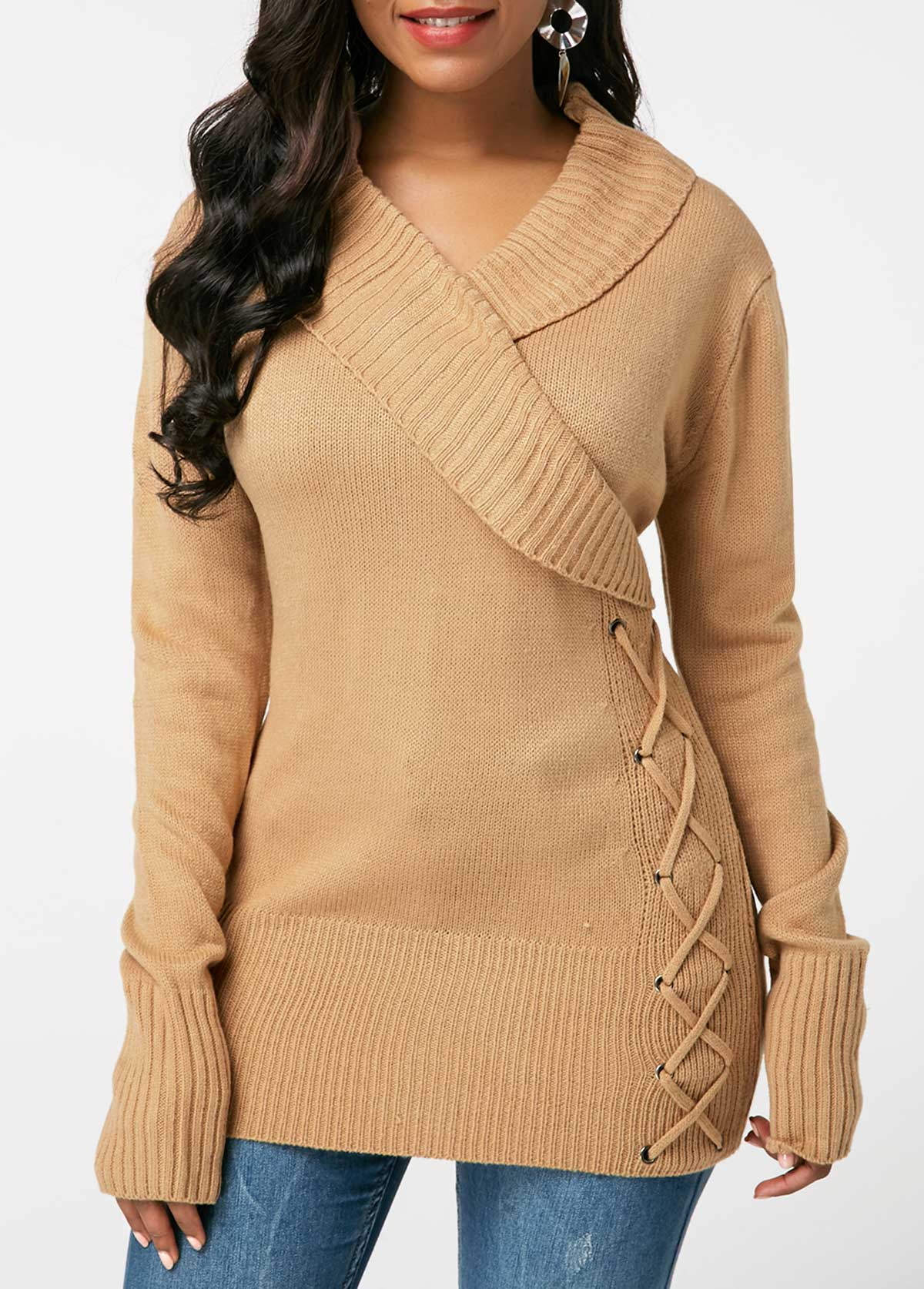 Khaki Lace Up Detail V Neck Sweater