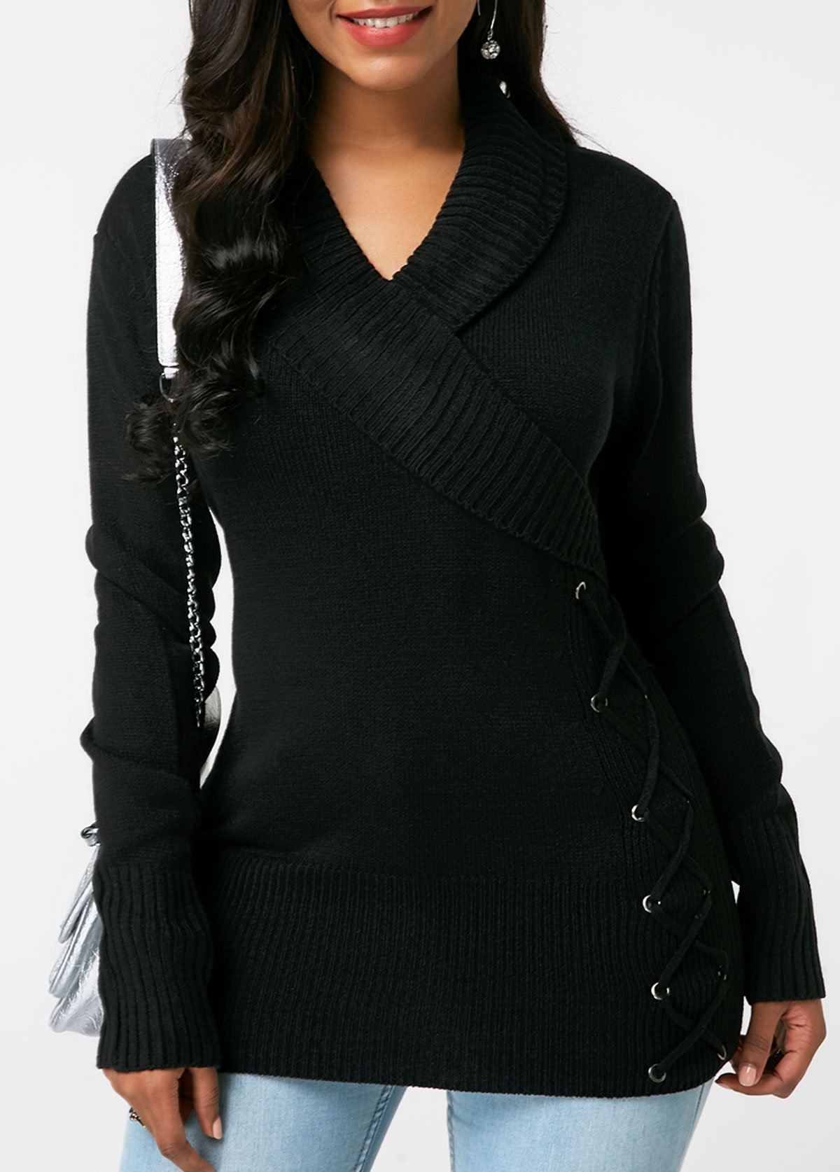 Lace Up Detail Long Sleeve Black Sweater