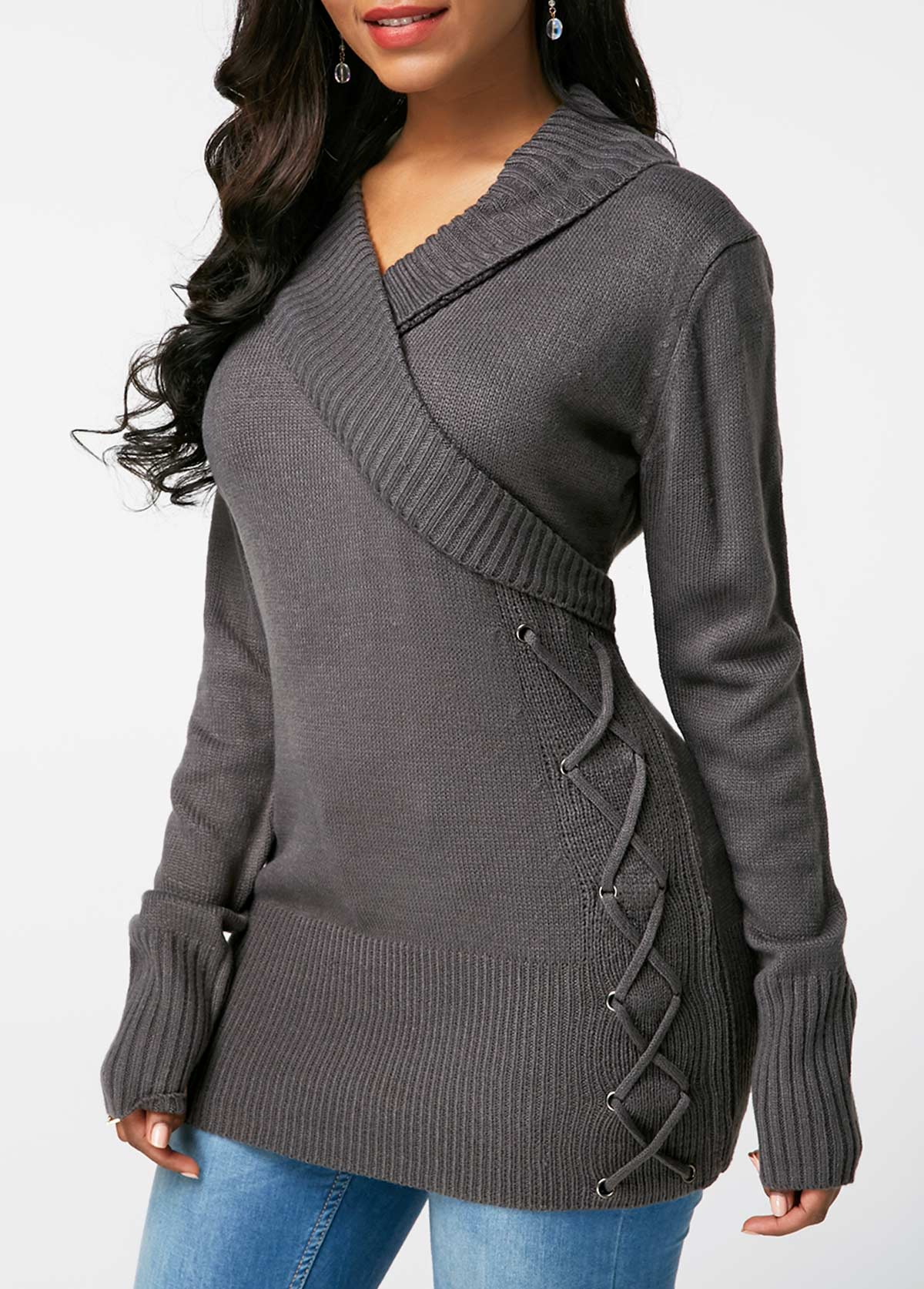 Dark Grey V Neck Lace Up Detail Sweater