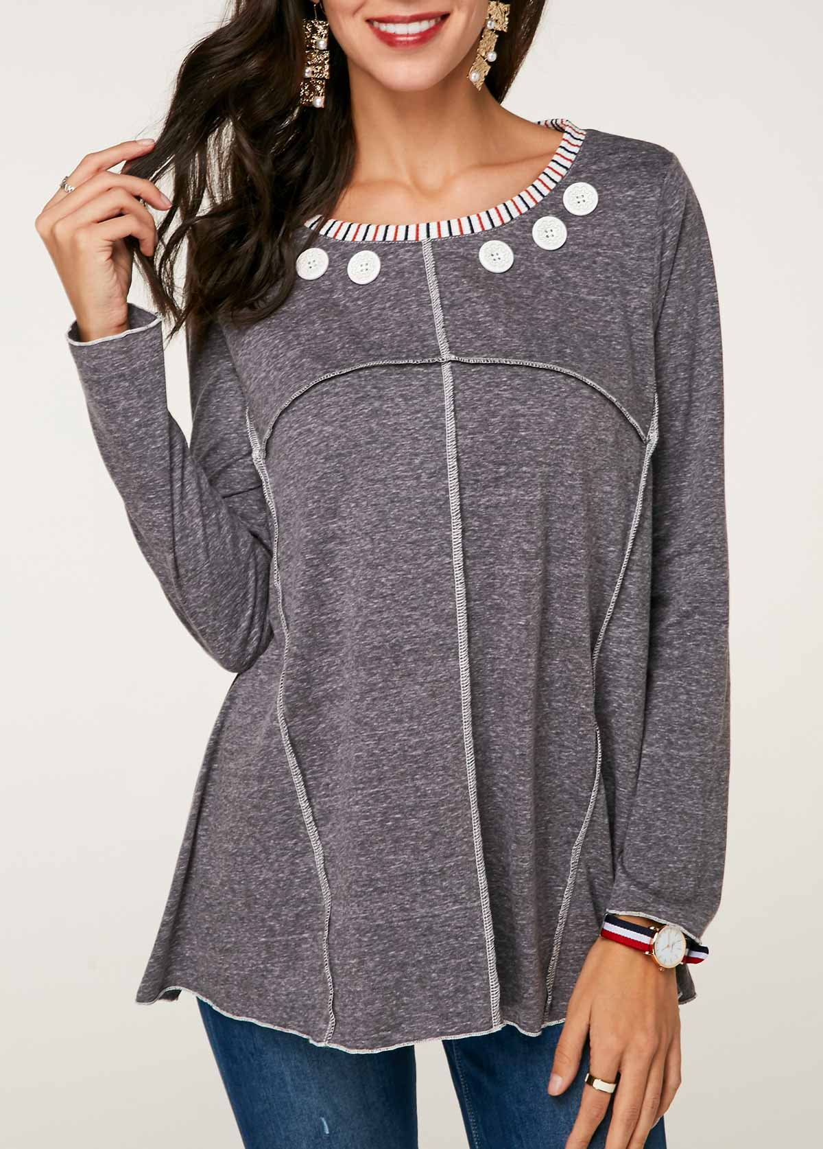 Button Detail Long Sleeve T Shirt