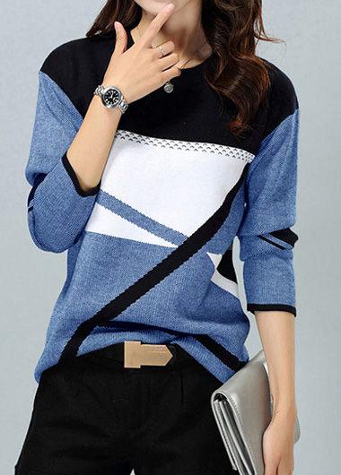 Round Neck Geometric Pattern Long Sleeve Blue Sweater