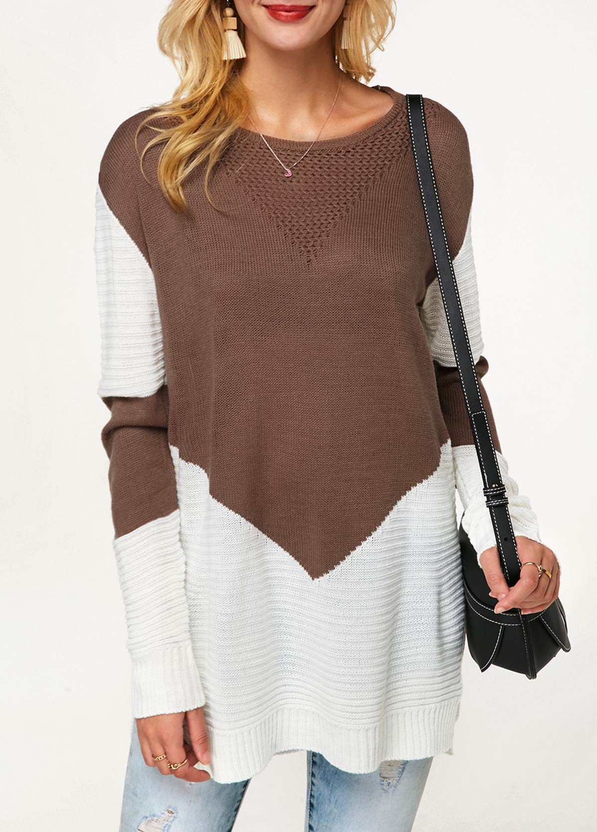 Side Slit Long Sleeve Color Block Sweater