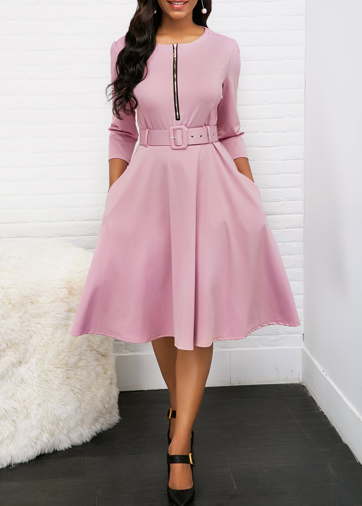 Zipper Front Belted Round Neck Pleated Dress