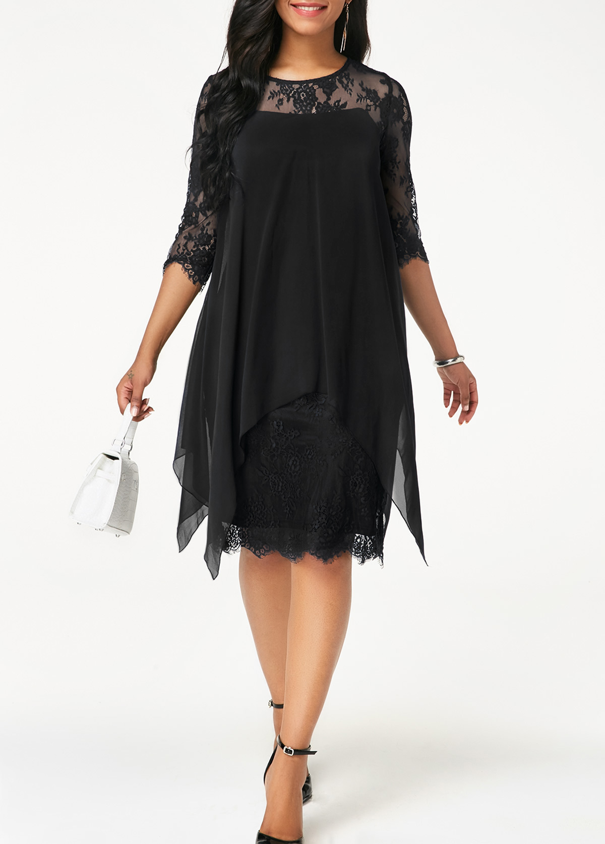 Chiffon Overlay Black Three Quarter Sleeve Lace Dress